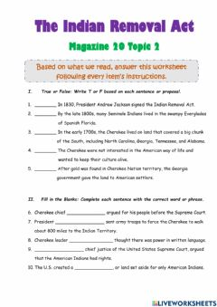 Interactive worksheet The Indian Removal Act