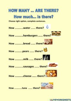 Interactive worksheet How much, How many?
