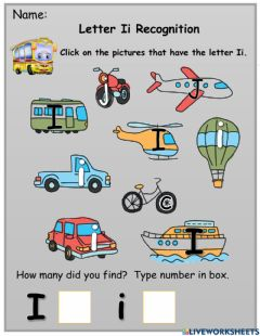 Interactive worksheet Letter Ii Recognition and Phonics