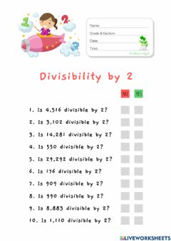 Interactive worksheet Divisibility by 2 (HuntersWoodsPH Math)