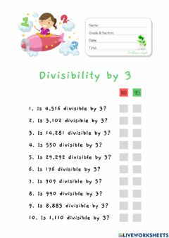 Interactive worksheet Divisibility by 3 (HuntersWoodsPH Math)