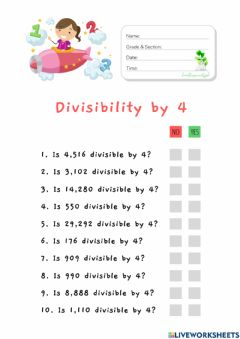 Interactive worksheet Divisibility by 4 (HuntersWoodsPH Math)