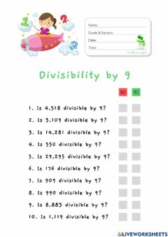 Interactive worksheet Divisibility by 9 (HuntersWoodsPH Math)