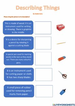 Interactive worksheet Describing Things