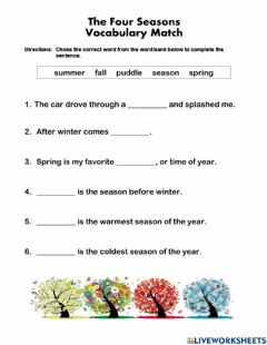 Interactive worksheet The Four Seasons Vocab Match