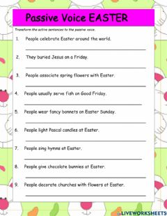 Interactive worksheet Easter Passive Voice Sentence Transformations