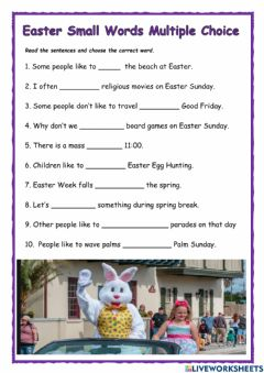 Interactive worksheet Easter Small Words Multiple Choice