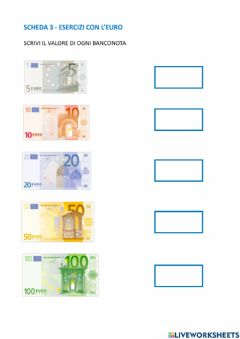Interactive worksheet Banconote in euro