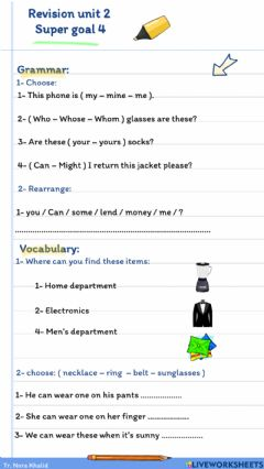Interactive worksheet Super Goal 4: Unit 2 Revision