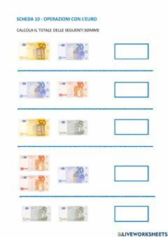 Interactive worksheet Somme con banconote in euro