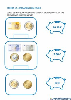 Interactive worksheet Somme con euro