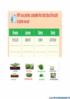 Interactive worksheet Part of plant we eat