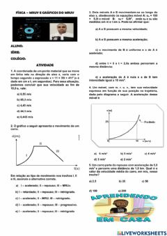 Interactive worksheet Cinemática - MRUV