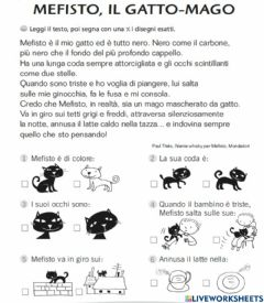 Interactive worksheet Il gatto Mefisto