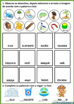 Interactive worksheet Letra I