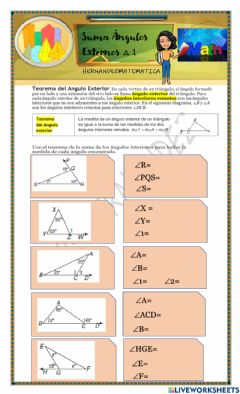 Interactive worksheet Angulos Externos Triangulos 1