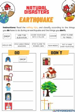 Interactive worksheet Natural Disasters - Earthquakes