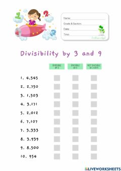 Interactive worksheet Divisibility by 3 and 9 (HuntersWoodsPH Math)