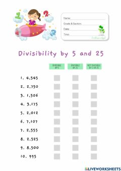 Interactive worksheet Divisibility by 5 and 25 (HuntersWoodsPH Math)