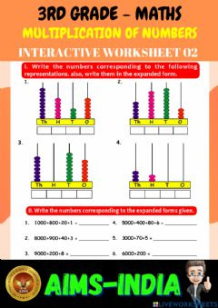 Ficha interactiva 3rd-maths-ps02-numbers upto 10000
