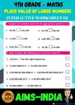 Ficha interactiva 4th-maths-ps02-place value of large numbers