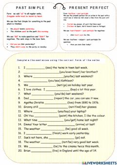 Interactive worksheet Past simple vs past perfect