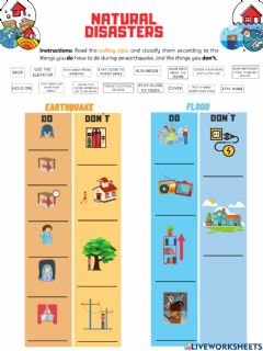 Interactive worksheet Natural Disaster (Floods-Earthquakes)