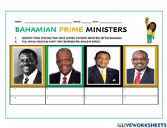 Interactive worksheet Prime Ministers of The Bahamas
