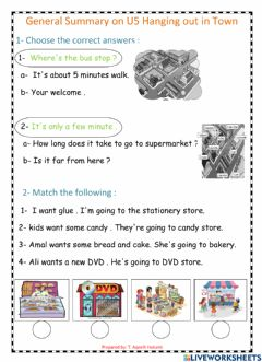 Interactive worksheet General Summary on hanging out in town