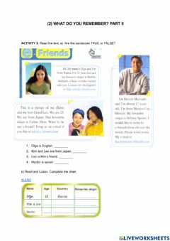 Interactive worksheet What do you remember 2