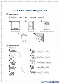 Interactive worksheet Classroom Objects - BI1