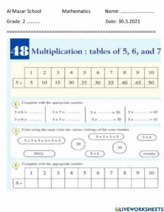 Interactive worksheet Muliplication table of 5 and 6