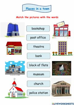 Interactive worksheet Places in a town