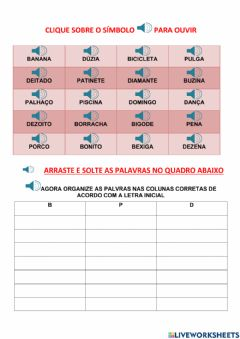 Interactive worksheet Letra inicial