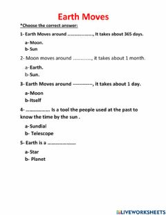 Interactive worksheet Earth Moves