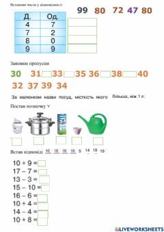 Interactive worksheet Математика. Сотня