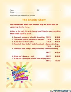 Interactive worksheet The Charity Show