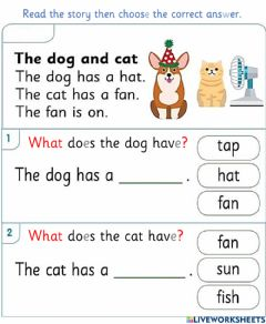 Interactive worksheet The dog and cat