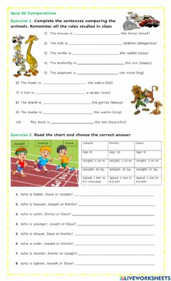 Interactive worksheet Quiz Comparatives