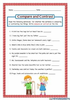 Interactive worksheet Compare and Contrast