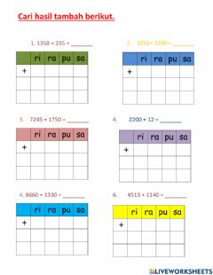 Interactive worksheet Latihan tambah t3