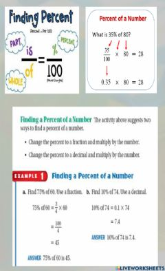 Interactive worksheet Finding the Percentage of a Number Notes