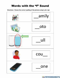 Interactive worksheet Words with the -f- Sound