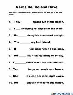 Interactive worksheet Verbs Be, Do and Have