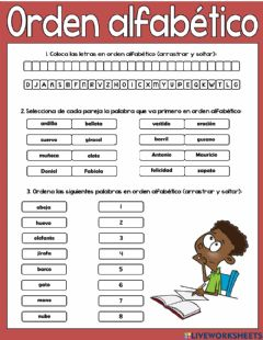 Interactive worksheet Orden alfabético