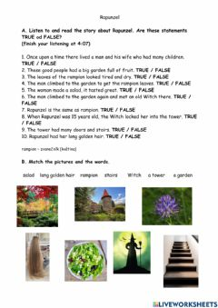 Interactive worksheet Rapunzel