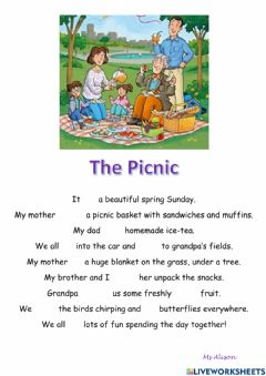 Interactive worksheet The Picnic - Past tense practice