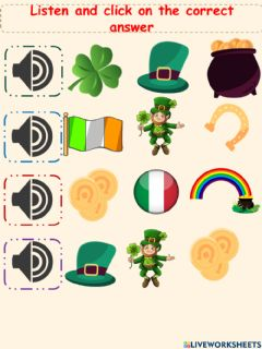 Interactive worksheet EXERCISE LISTEN ST. PATRICKS DAY