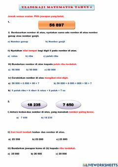 Interactive worksheet Matematik tahun 4