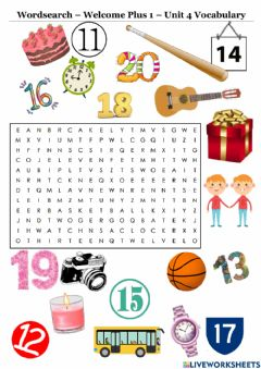 Interactive worksheet Welcome Plus 1 Wordsearch Unit 4